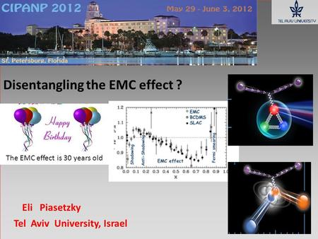 Disentangling the EMC effect ? Eli Piasetzky Tel Aviv University, Israel The EMC effect is 30 years old.