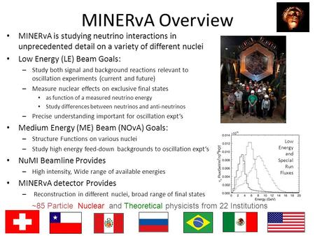 MINERvA Overview MINERvA is studying neutrino interactions in unprecedented detail on a variety of different nuclei Low Energy (LE) Beam Goals: – Study.