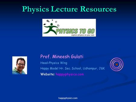 Happyphysics.com Physics Lecture Resources Prof. Mineesh Gulati Head-Physics Wing Happy Model Hr. Sec. School, Udhampur, J&K Website: happyphysics.com.