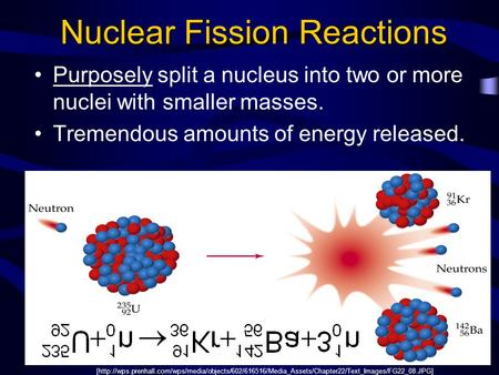 Nuclear Fission Reactions Purposely split a nucleus into two or more nuclei with smaller masses. Tremendous amounts of energy released. [http://wps.prenhall.com/wps/media/objects/602/616516/Media_Assets/Chapter22/Text_Images/FG22_08.JPG]