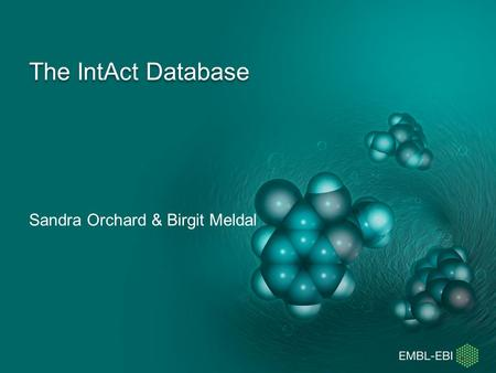 The IntAct Database Sandra Orchard & Birgit Meldal.