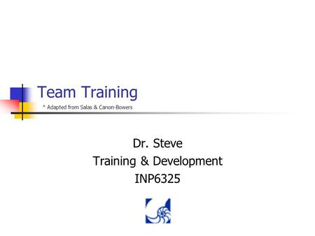 Team Training Dr. Steve Training & Development INP6325 * Adapted from Salas & Canon-Bowers.