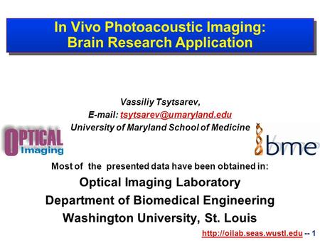 -- 1 In Vivo Photoacoustic Imaging: Brain Research Application Vassiliy Tsytsarev,
