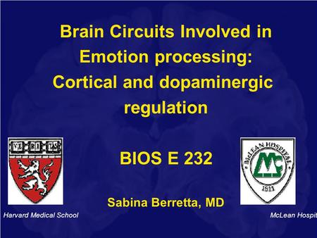 Brain Circuits Involved in Emotion processing: Cortical and dopaminergic regulation BIOS E 232 Sabina Berretta, MD Harvard Medical School McLean Hospital.