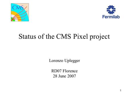 1 Status of the CMS Pixel project Lorenzo Uplegger RD07 Florence 28 June 2007.
