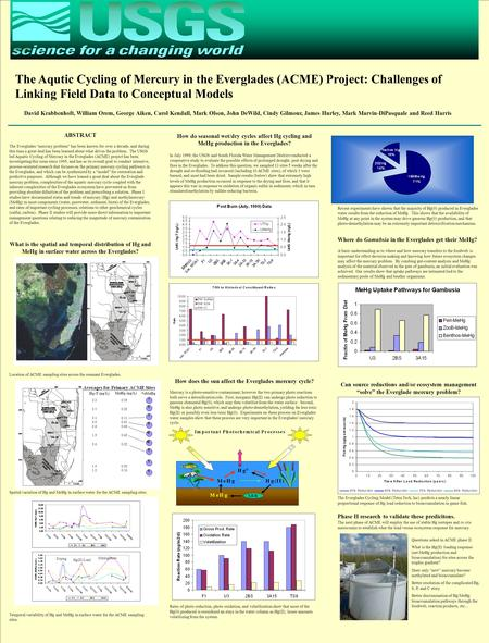 The Aqutic Cycling of Mercury in the Everglades (ACME) Project: Challenges of Linking Field Data to Conceptual Models David Krabbenhoft, William Orem,