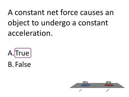 A constant net force causes an object to undergo a constant acceleration. A.True B.False.