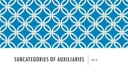 SUBCATEGORIES OF AUXILIARIES Lec. 9. OBJECTIVES Investigate the similarities and differences between main verbs, auxiliaries, and modals Discover the.