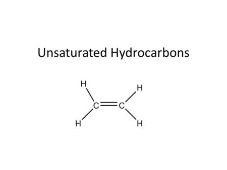 Unsaturated Hydrocarbons. Introduction to Unsaturated HC – One or more C-to-C multiple bond present Double bond is rigid – doesn't rotate – Similar physical.