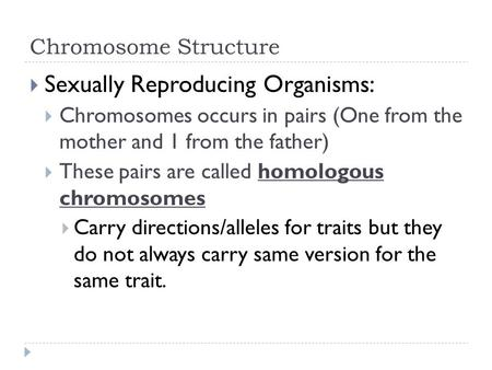 Sexually Reproducing Organisms: