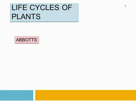 LIFE CYCLES OF PLANTS ABBOTTS COLLEGE ABBOTTS 1. TOPICS 2  DEFINITIONS  Alternation of generations  Haploid  diploid  LIFE CYCLES OF:  Moss  A.