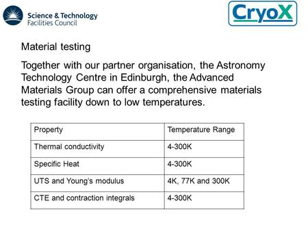 Material testing Together with our partner organisation, the Astronomy Technology Centre in Edinburgh, the Advanced Materials Group can offer a comprehensive.