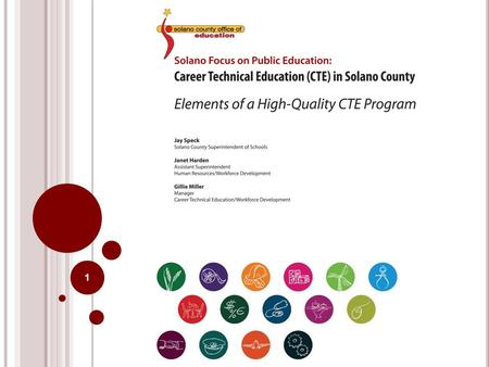 1. C AREER T ECHNICAL E DUCATION 2008-2012 California State Plan for Career Technical Education Career Technical Education in Solano County Implementation.