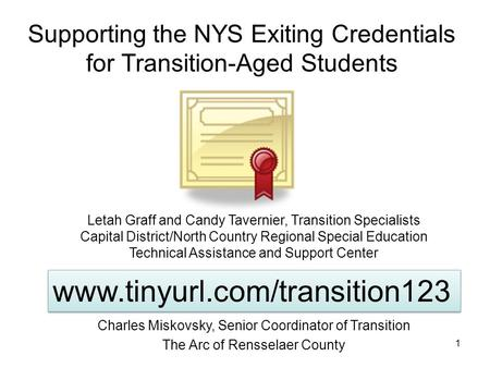 Supporting the NYS Exiting Credentials for Transition-Aged Students 1 Letah Graff and Candy Tavernier, Transition Specialists Capital District/North Country.