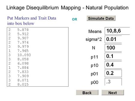 Put Markers and Trait Data into box below Linkage Disequilibrium Mapping - Natural Population OR.