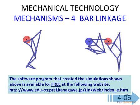 MECHANICAL TECHNOLOGY MECHANISMS – 4 BAR LINKAGE