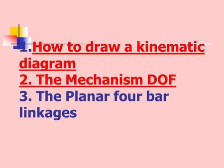 How to draw a kinematic diagram 2. The Mechanism DOF 3