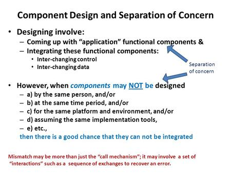 "Component Design and Separation of Concern Designing involve: – Coming up with ""application"" functional components & – Integrating these functional components:"