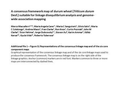 A consensus framework map of durum wheat (Triticum durum Desf.) suitable for linkage disequilibrium analysis and genome- wide association mapping Marco.