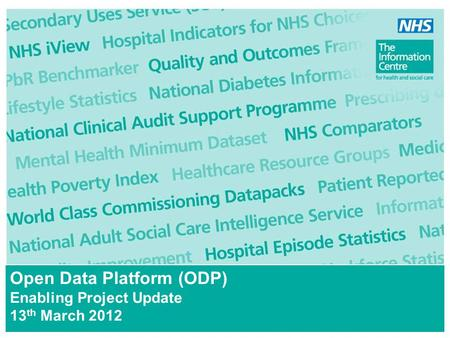 Open Data Platform (ODP) Enabling Project Update 13 th March 2012.