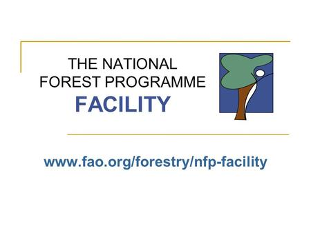 THE NATIONAL FOREST PROGRAMME FACILITY www.fao.org/forestry/nfp-facility.