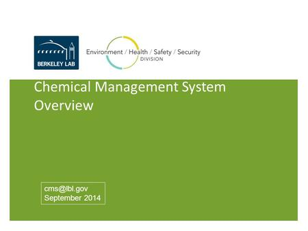 Chemical Management System Overview September 2014.