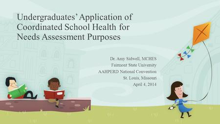 Undergraduates' Application of Coordinated School Health for Needs Assessment Purposes Dr. Amy Sidwell, MCHES Fairmont State University AAHPERD National.