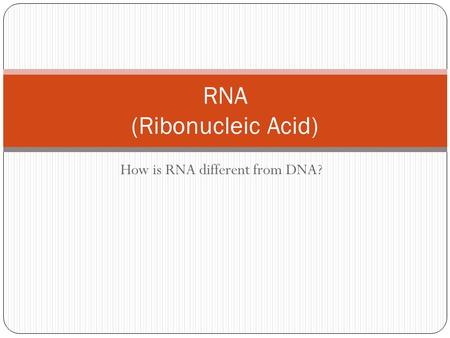 How is RNA different from DNA? RNA (Ribonucleic Acid)