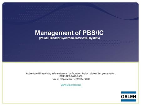 Management of PBS/IC (Painful Bladder Syndrome/Interstitial Cystitis)
