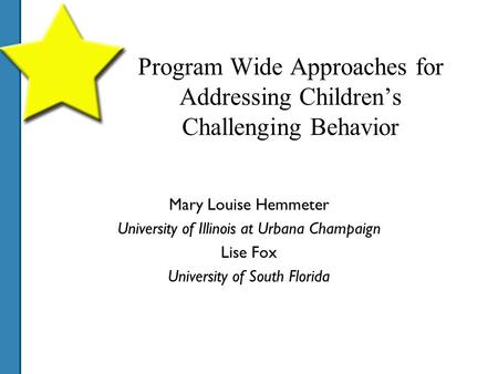 Program Wide Approaches for Addressing Children's Challenging Behavior Mary Louise Hemmeter University of Illinois at Urbana Champaign Lise Fox University.