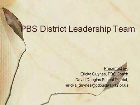 PBS District Leadership Team Presented by: Ericka Guynes, PBS Coach David Douglas School District,