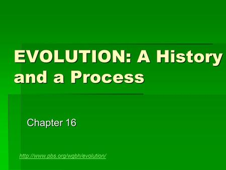 EVOLUTION: A History and a Process Chapter 16