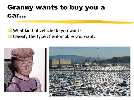 Granny wants to buy you a car… zWhat kind of vehicle do you want? zClassify the type of automobile you want: