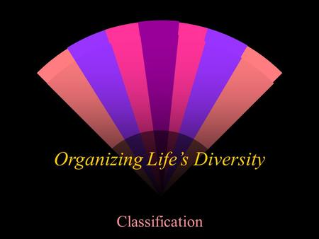 Organizing Life's Diversity Classification. w ______________- system of grouping objects or information based on similarities. w ____________- study that.