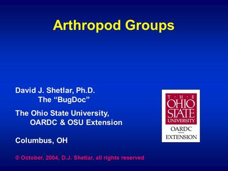 "Arthropod Groups David J. Shetlar, Ph.D. The ""BugDoc"" The Ohio State University, OARDC & OSU Extension Columbus, OH © October, 2004, D.J. Shetlar, all."