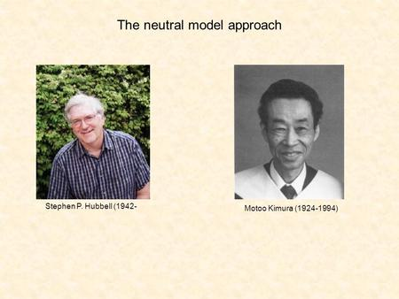 The neutral model approach Stephen P. Hubbell (1942- Motoo Kimura (1924-1994)
