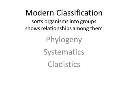 Modern Classification sorts organisms into groups shows relationships among them Phylogeny Systematics Cladistics.
