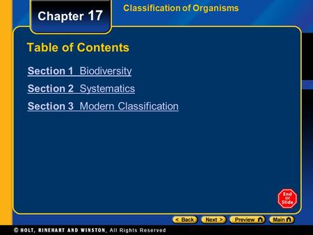 Classification of Organisms Chapter 17 Table of Contents Section 1 Biodiversity Section 2 Systematics Section 3 Modern Classification.