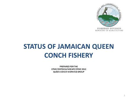 STATUS OF JAMAICAN QUEEN CONCH FISHERY PREPARED FOR THE CFMC/OSPESCA/WECAFC/CFMC 2012 QUEEN CONCH WORKING GROUP 1.