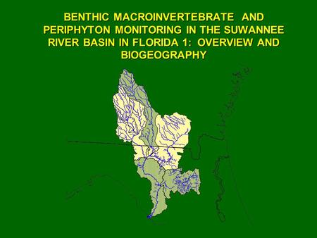 BENTHIC MACROINVERTEBRATE AND PERIPHYTON MONITORING IN THE SUWANNEE RIVER BASIN IN FLORIDA 1: OVERVIEW AND BIOGEOGRAPHY.
