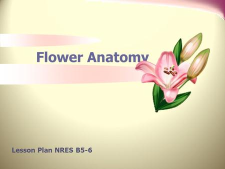 Flower Anatomy Lesson Plan NRES B5-6. Anticipated Problems 1. What are the parts of a flower and their functions? 2. What are the types of flowers? 3.