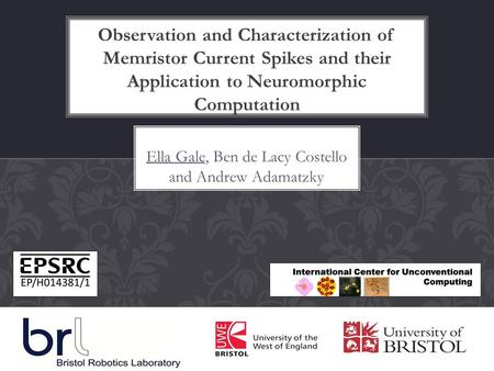Ella Gale, Ben de Lacy Costello and Andrew Adamatzky Observation and Characterization of Memristor Current Spikes and their Application to Neuromorphic.