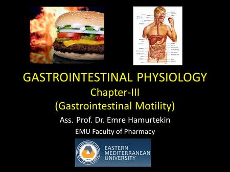 GASTROINTESTINAL PHYSIOLOGY Chapter-III (Gastrointestinal Motility) Ass. Prof. Dr. Emre Hamurtekin EMU Faculty of Pharmacy.