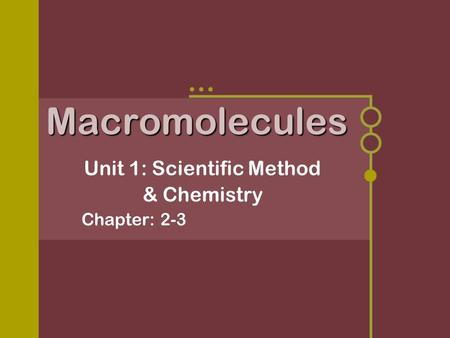 Unit 1: Scientific Method & Chemistry Chapter: 2-3