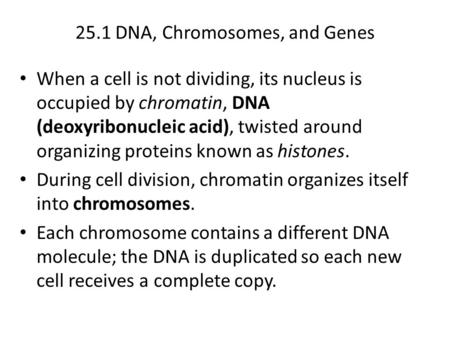 25.1 DNA, Chromosomes, and Genes When a cell is not dividing, its nucleus is occupied by chromatin, DNA (deoxyribonucleic acid), twisted around organizing.