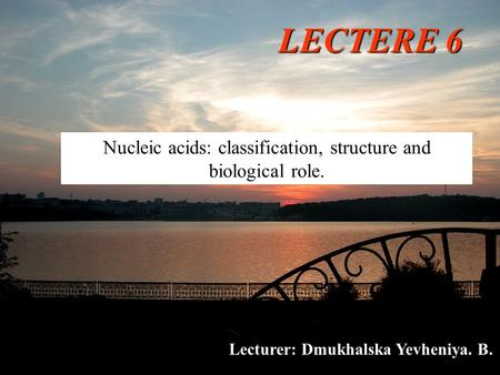 LECTERE 6 Nucleic acids: classification, structure and biological role. Lecturer: Dmukhalska Yevheniya. B.