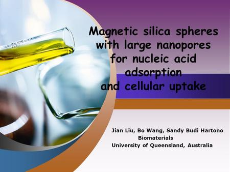 Company LOGO Magnetic silica spheres with large nanopores for nucleic acid adsorption and cellular uptake Jian Liu, Bo Wang, Sandy Budi Hartono Biomaterials.