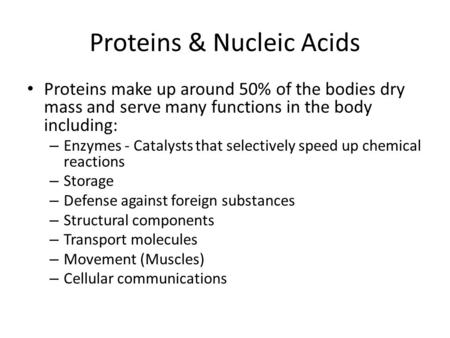 Proteins & Nucleic Acids Proteins make up around 50% of the bodies dry mass and serve many functions in the body including: – Enzymes - Catalysts that.