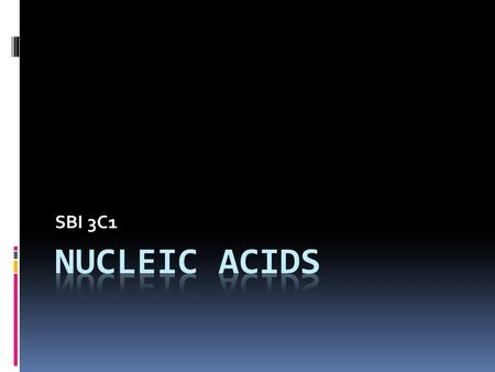 SBI 3C1. Nucleic Acids  Associated with genetic/hereditary information  There are 2 different types of nucleic acids: 1. DNA - Deoxyribonucleic Acid.