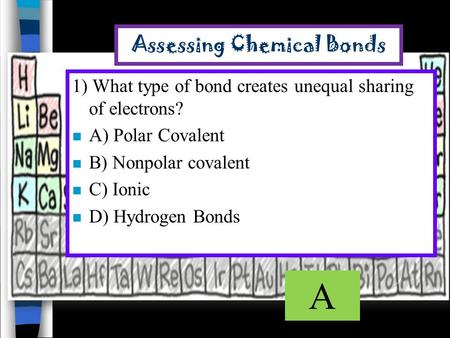 Assessing Chemical Bonds 1) What type of bond creates unequal sharing of electrons? n A) Polar Covalent n B) Nonpolar covalent n C) Ionic n D) Hydrogen.